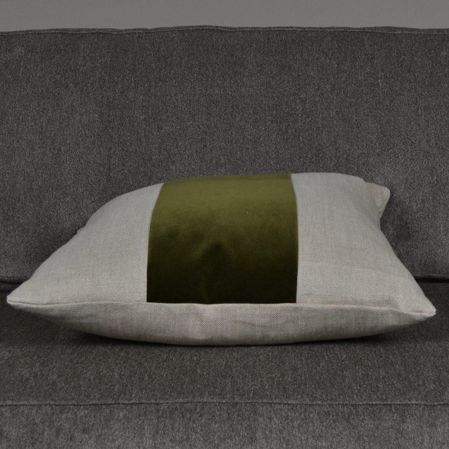 flax linen pillow with olive green velvet stripe