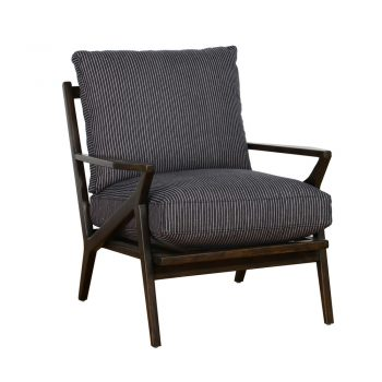 gray pinstripe accent chair with wood frame