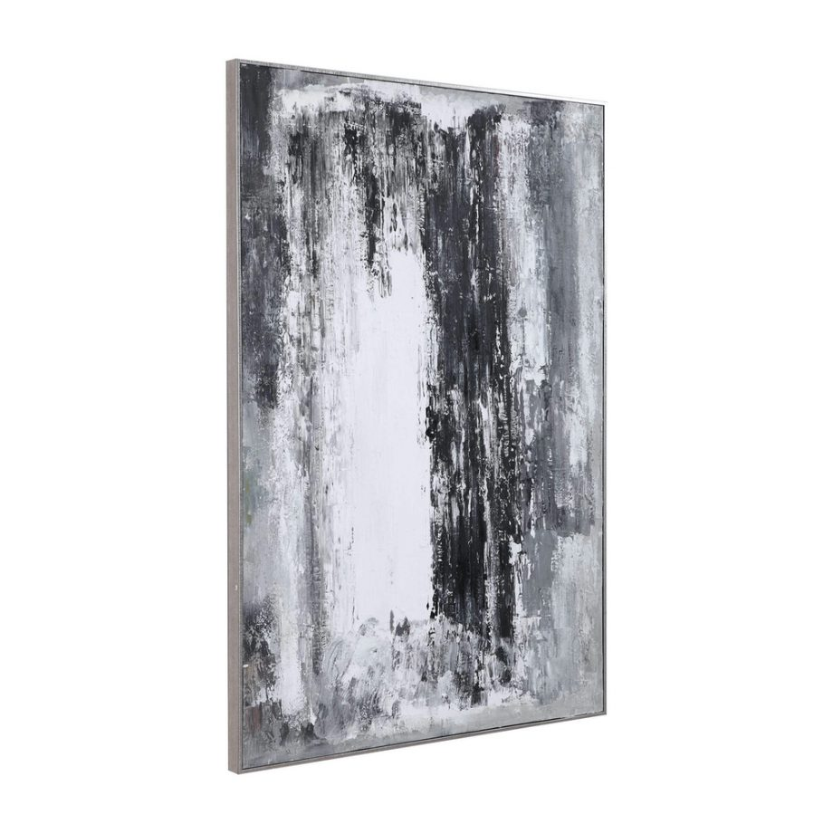 silver and gray textured thick brushstroke art on canvas