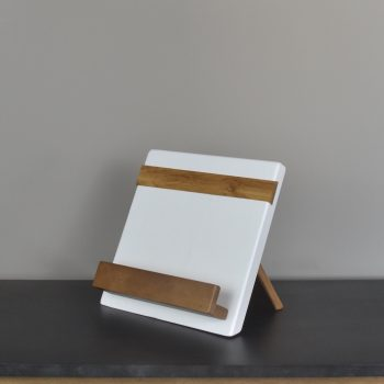 white and natural wood cookbook or ipad holder