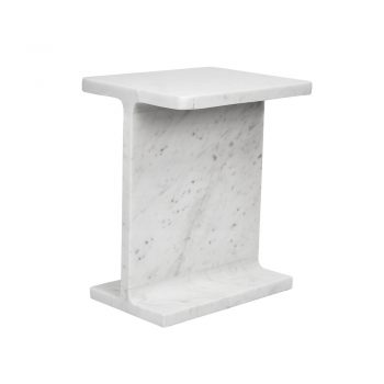 white marble I-shaped beam side table
