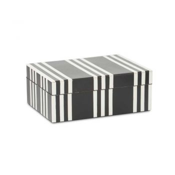 black and white striped wooden decor box
