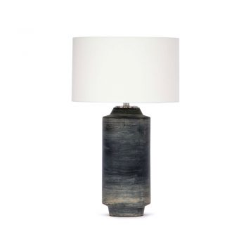 black brushstroke cylinder shaped ceramic table lamp with white shade