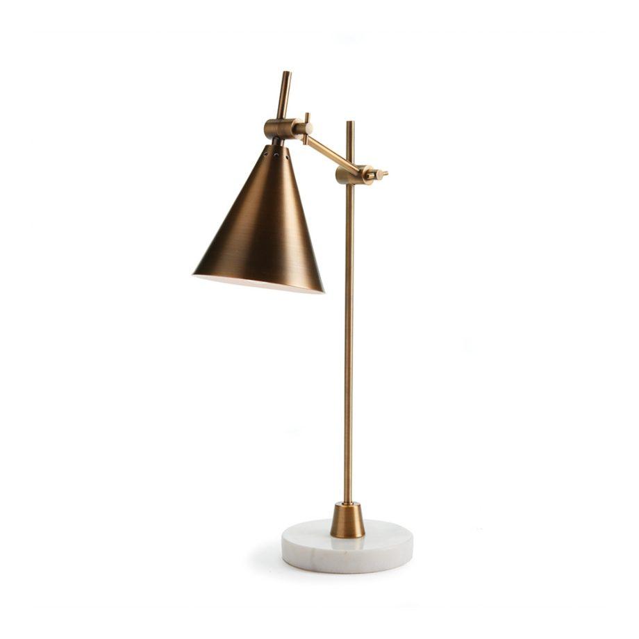 brass desk lamp on white marble base