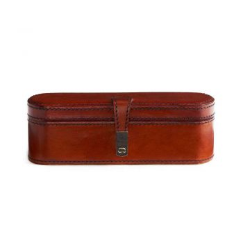 brown leather oval oblong decor box with clasp