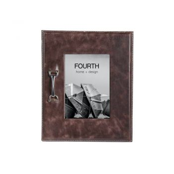 brown leather picture frame with silver bridle bit accent