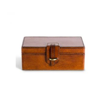 brown leather rectangle decor box with clasp