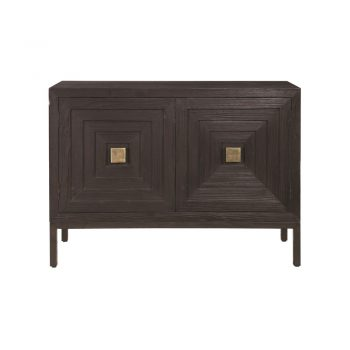 brown wood two door cabinet with geometric concentric square doors