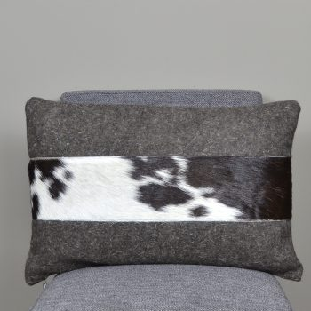 brown wool lumbar pillow with cowhide stripe