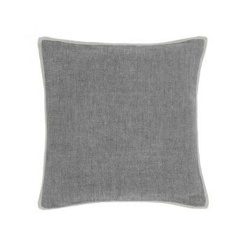dark gray chambray linen pillow