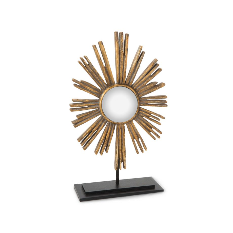 gold starburst convex mirror on black metal base