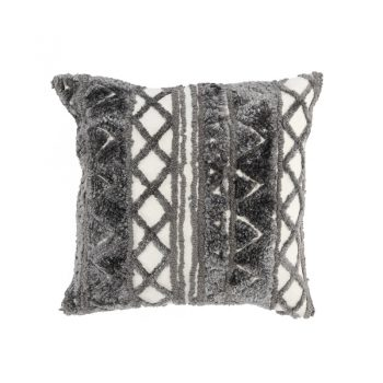 gray and white textured hand-woven pillow