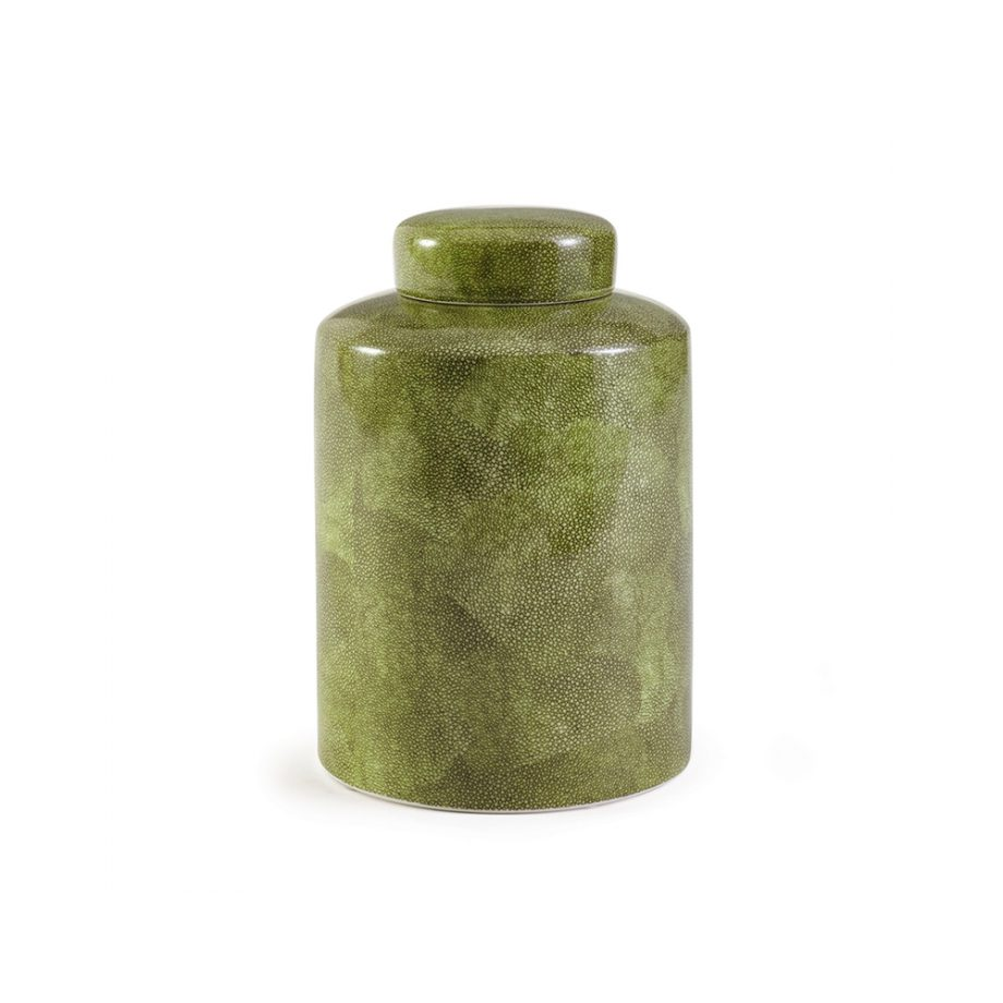 green shagreen painted ceramic jar with lid