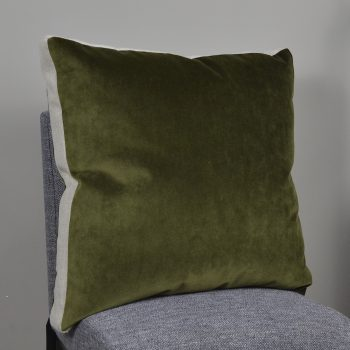 olive green velvet box pleat pillow with natural linen sides