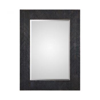rectangle wall mirror with bronze metal chevron frame