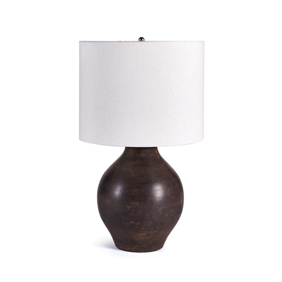 round terra cotta lamp with white shade