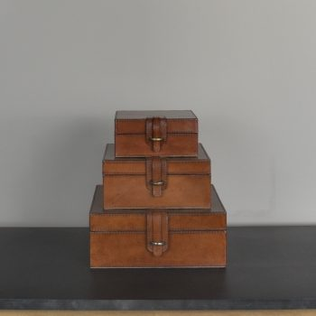 brown flat square leather box with clasp