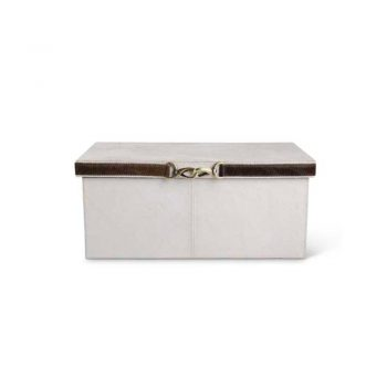 white hide box with brown leather strap and brass clasp