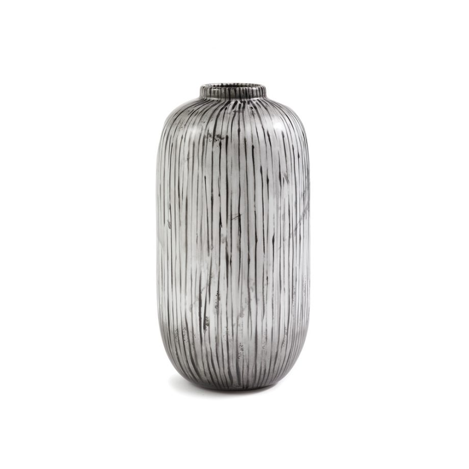 white vase with black hand painted stripes