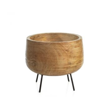 mango wood bowl on black metal stand