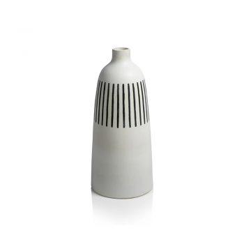 oversized matte white vase with black stripes