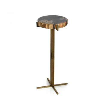 petrified wood cocktail table on textured metal base