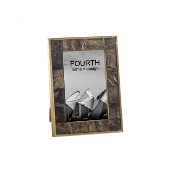 textured horn inlay picture frame with brass edge