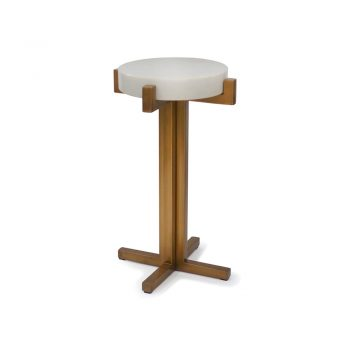 thick white marble cocktail table on brass base