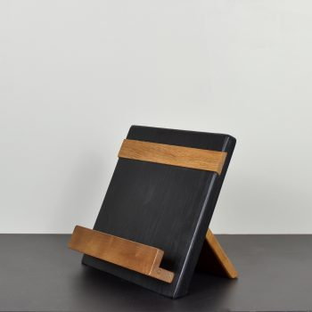 black and natural wood cookbook or ipad holder