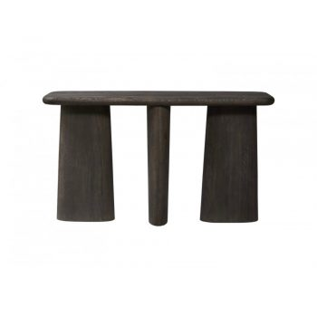 black wood console with three abstract shape wood legs