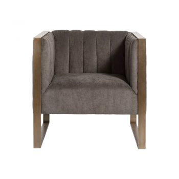 blue gray panel tufted occasional chair with brass arms and frame