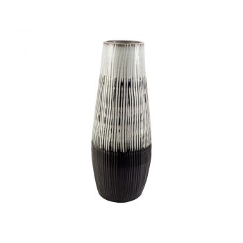 brown and white glazed ribbed vase