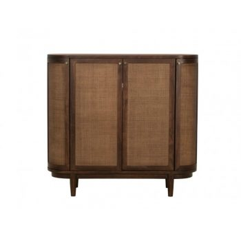brown wood tall storage cabinet bar with cane doors