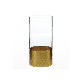 clear glass vase with gold base in hexagon pattern