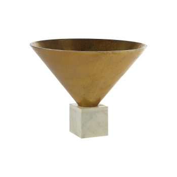 gold metal cone vase on white marble base