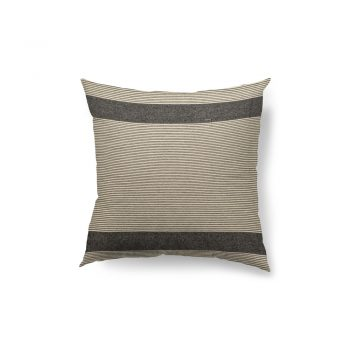 gray and natural striped down pillow
