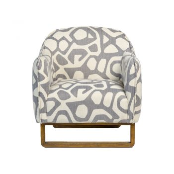gray and white geometric pattern print occasional chair on wood base