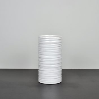 matte white striated ceramic vase