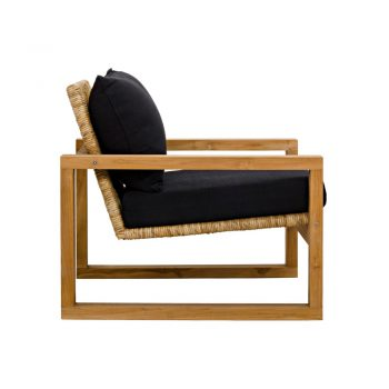 rattan accent chair with black cushions and teak wood frame