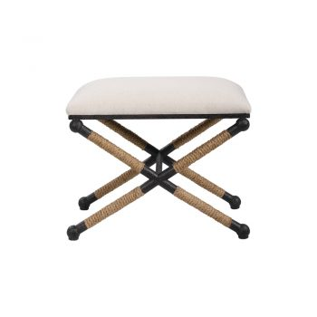 rectangle oatmeal cream stool on black metal cross base with rope