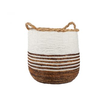 round banana leaf basket with white stripes and handles