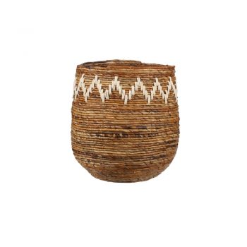 round woven banana leaf basket with white zig zags pattern