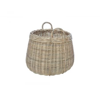 round woven rattan basket with handles