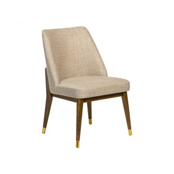 tan herringbone dining chair on walnut base with brass accents
