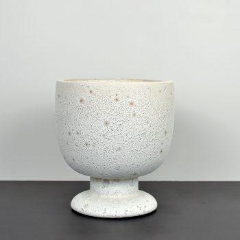 white porous stoneware urn vase