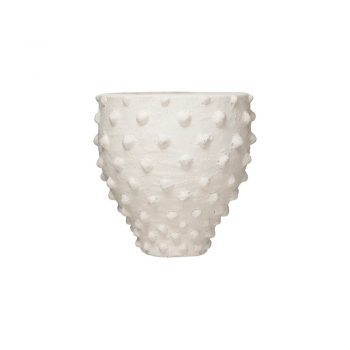 white raw textured finish terra-cotta vase with knobs
