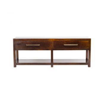 wood two drawer console table with brass pulls