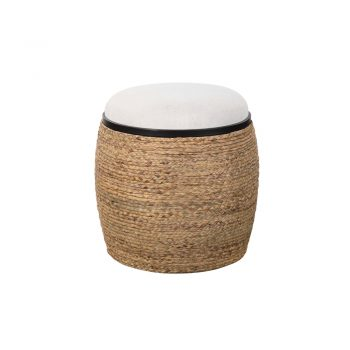 woven fiber ottoman with cream fabric cushion