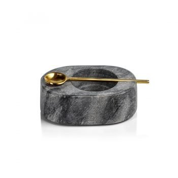 gray marble salt and pepper dish with gold spoon